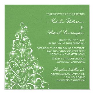 Sparkly Holiday Tree Wedding Invite, Green Card