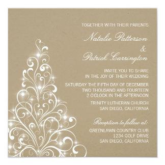 Sparkly Holiday Tree Wedding Invite, Latte Card