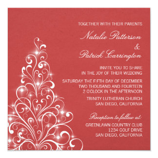 Sparkly Holiday Tree Wedding Invite, Red Card
