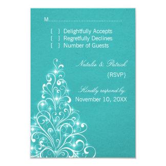 Sparkly Holiday Tree Wedding RSVP Card, Aqua Card
