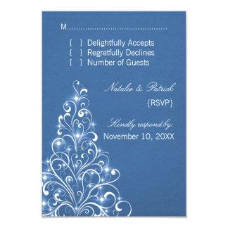 Sparkly Holiday Tree Wedding RSVP Card, Blue Card