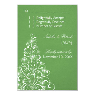 Sparkly Holiday Tree Wedding RSVP Card, Green Card