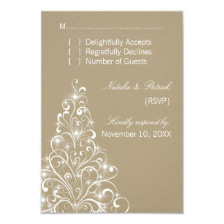 Sparkly Holiday Tree Wedding RSVP Card, Latte 3.5x5 Paper Invitation Card
