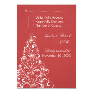 Sparkly Holiday Tree Wedding RSVP Card, Red Card