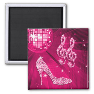 Sparkly Hot Pink Music Note & Stiletto Heel 2 Inch Square Magnet