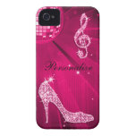 Sparkly Hot Pink Music Note & Stiletto Heel iPhone 4 Cover