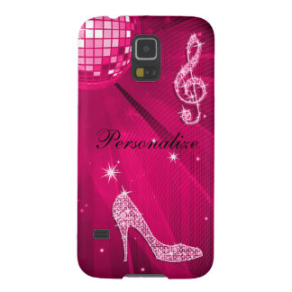 Sparkly Hot Pink Music Note & Stiletto Heel Case For Galaxy S5