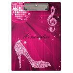 Sparkly Hot Pink Music Note & Stiletto Heel Clipboard