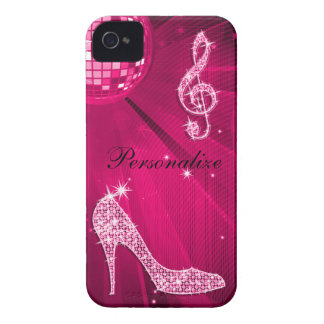 Sparkly Hot Pink Music Note & Stiletto Heel iPhone 4 Case