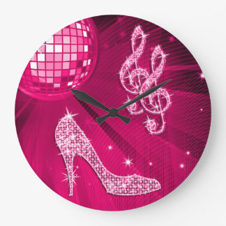 Sparkly Hot Pink Music Note & Stiletto Heel Large Clock