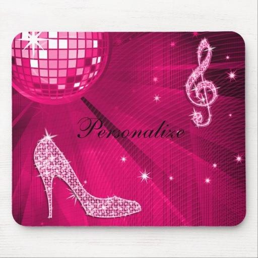 Sparkly Hot Pink Music Note & Stiletto Heel Mouse Pad