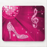 Sparkly Hot Pink Music Note & Stiletto Heel Mousepads