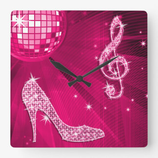 Sparkly Hot Pink Music Note & Stiletto Heel Square Wall Clock