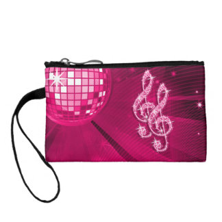 Sparkly Hot Pink Music Notes Change Purse