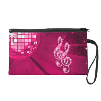 Sparkly Hot Pink Music Notes Wristlet