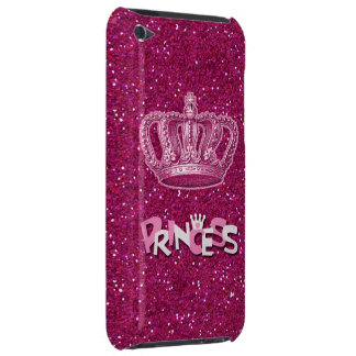 Sparkly Hot Pink Princess Glitter & Vintage Crown iPod Touch Case-Mate Case