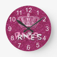 Sparkly Hot Pink Princess Glitter & Vintage Crown Round Clock