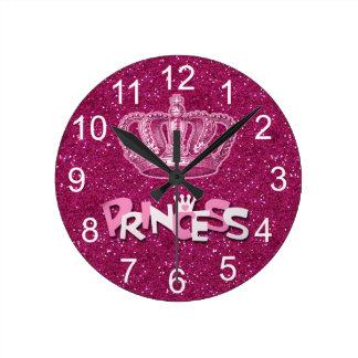 Sparkly Hot Pink Princess Glitter & Vintage Crown Round Clock