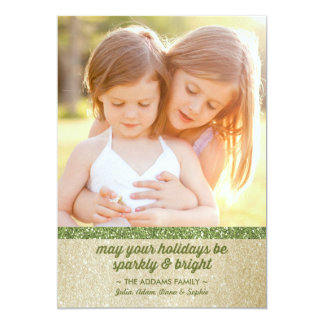 Sparkly in Green & Gold Glitter Holiday Photo Card