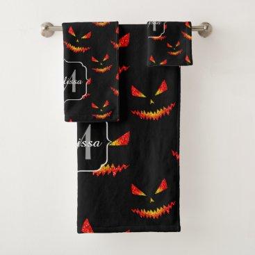 Halloween Themed Sparkly Jack O'Lantern face Halloween Monogram Bath Towel Set