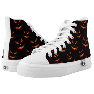 Sparkly Jack O'Lantern face Halloween pattern High-Top Sneakers