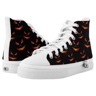 Halloween Themed Sparkly Jack O'Lantern face Halloween pattern High-Top Sneakers