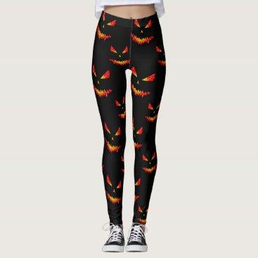 Halloween Themed Sparkly Jack O'Lantern face Halloween pattern Leggings