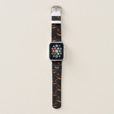 Sparkly Jack O'Lantern Halloween pattern Monogram Apple Watch Band