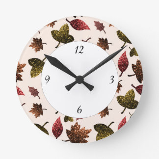 Sparkly leaves fall autumn pattern with numbers round clock