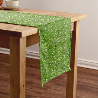 Sparkly Lime Green & Silver Glitter Short Table Runner