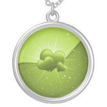 sparkly lime hearts silver plated necklace