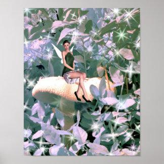 Sparkly magic mushroom fairy poster
