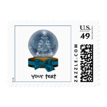 sparkly magical snow globe postage