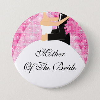 Sparkly Mother of the Bride Button / Pin Pink