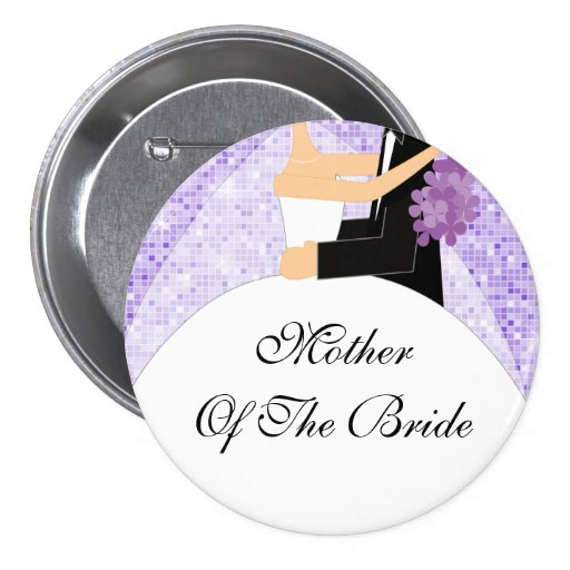 Sparkly Mother of the Bride Button / Pin Purple
