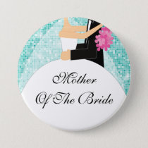 Sparkly Mother of the Bride Button / Pin Turquoise