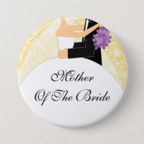 Sparkly Mother of the Bride Button / Pin Yellow