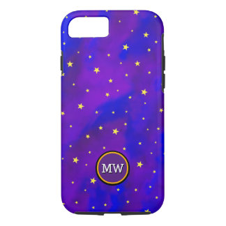 Sparkly Night Sky and Golden Stars Monogram iPhone 7 Case