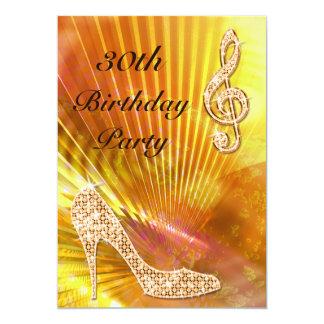 Sparkly Orange Music Note & Stiletto 30th birthday Invites