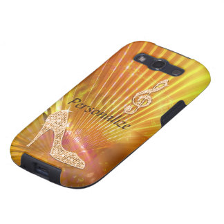 Sparkly Orange Music Note & Stiletto Heel Galaxy S3 Cover