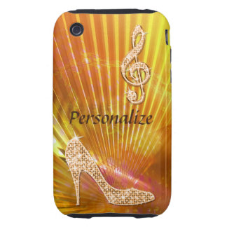 Sparkly Orange Music Note & Stiletto Heel iPhone 3 Tough Cover