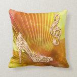 Sparkly Orange Music Note & Stiletto Heel Throw Pillow