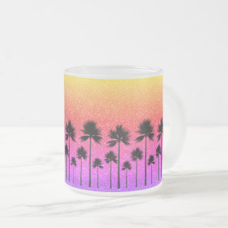 Sparkly Palm Trees Frosted Glass Coffee Mug