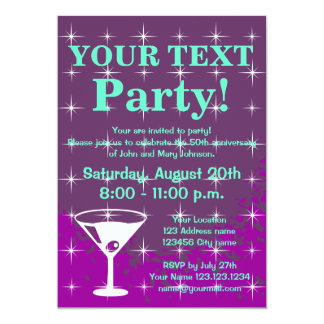 """Sparkly party invitations with cocktail glass 5"""" x 7"""" invitation card"""