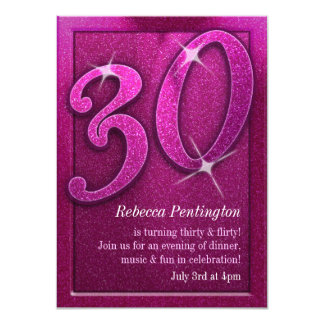 Sparkly Pink 30 and Flirty Birthday Invitations