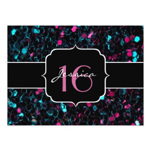 Sparkly pink and blue mosaic  5.5x7.5 Paper Invitation Card
