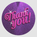 Sparkly Pink and Purple Thank You Stickers