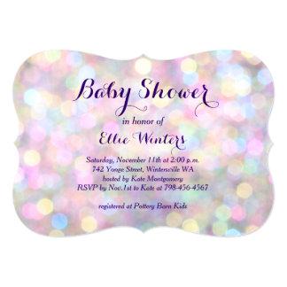 "Sparkly Pink Baby Shower Invitation 5"" X 7"" Invitation Card"