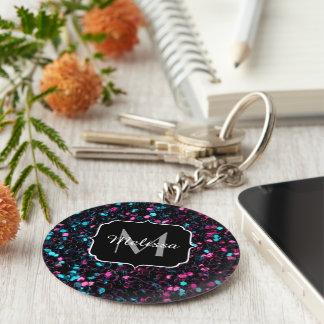 Sparkly pink blue mosaic glitter sparkles Monogram Keychain