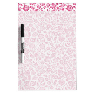 Sparkly Pink Floral on White Dry-Erase Board